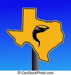 Texas tornado warning sign - Texas warning sign with tornado...