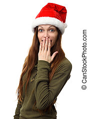 Surprised woman wearing a christmas santa hat isolated on...