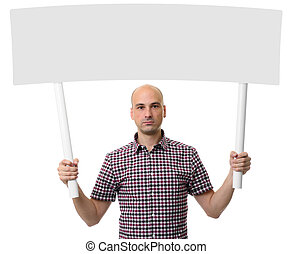 Man holding protest sign. Demonstration concept. Isolated...