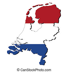 Netherlands map flag - map of Netherlands with their flag...