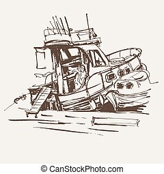 ink sketch drawing of boat in marine, travel vector...