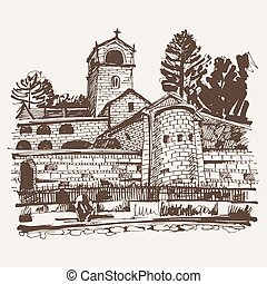 sepia hand drawing of Cetinje monastery - ancient capital in...