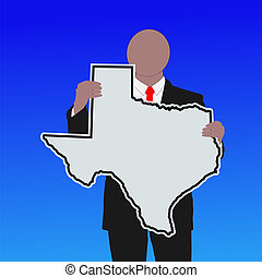 man with Texas sign - Business man with texas sign with blue...