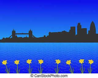 London skyline in spring