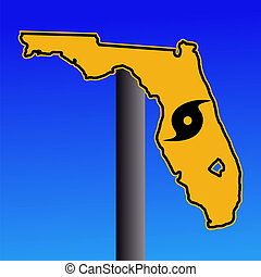 Florida warning sign with hurricane