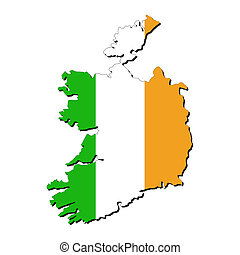 Ireland map flag - map of Ireland with their flag...