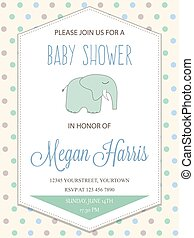 delicate baby boy shower card with little elephant