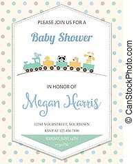 delicate baby boy shower card with toy train