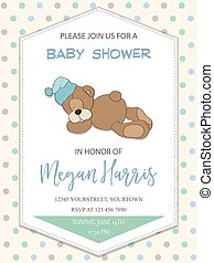 delicate baby boy shower card with little teddy bear