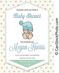 delicate baby boy shower card with little baby