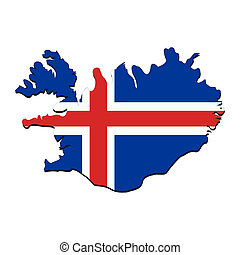 Iceland map flag - map of Iceland with their flag...