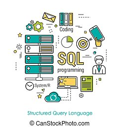 SQL line art concept - Vector Line Art Concept of Structured...