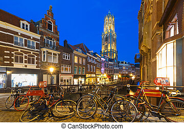 Night Dom Tower and bridge, Utrecht, Netherlands - Dom...