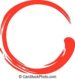 Red Zen Circle Simple Symbol Vector