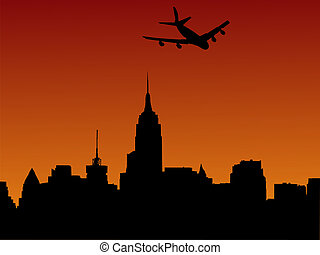 plane arriving in Manhattan at sunset illustration