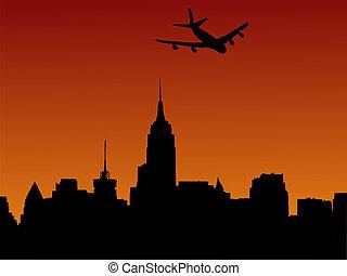 samolot, Przybywając, Manhattan