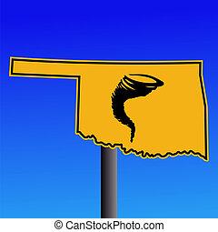 Oklahoma tornado warning sign - Oklahoma warning sign with...