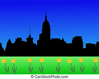 Midtown skyline in spring