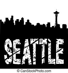 Seattle text with skyline - Seattle grunge text with skyline...