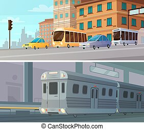 City Transport Cartoon Horizontal Banners - City transport...