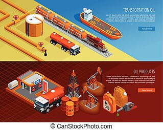 Oil Industry Isometric Webpage Banners Set - Gas oil...