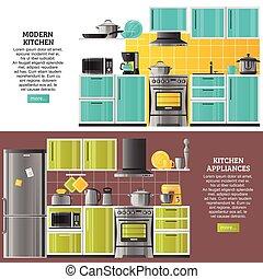Kitchen Interior Horizontal Banners - Kitchen interior...