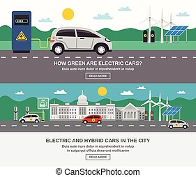 Electric Car City 2 Flat Banners - Electric and hybrid cars...