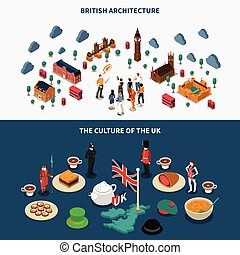 Great Britain Banners Set - Touristic Great Britain...