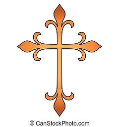 Isolated cross shape design - Cross shape design. Religion...