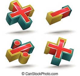 Vector Calculate Symbol icon 3D sty