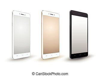Smartphone mockups set on white background. Vector...