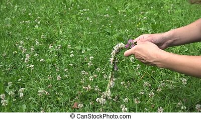 hands weave head wreath from red and white clover plant...