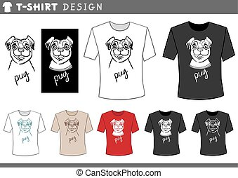 t shirt design with pug dog