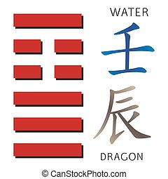 Symbol of i ching hexagram from chinese hieroglyphs...