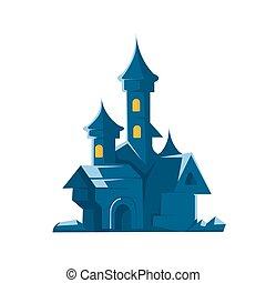 Dark castle of vampires. Vector illustration on white...