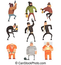 Criminals And Convicts Funny Characters Set