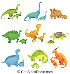 Different Dinosaurs In Pairs Of Big And Small