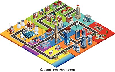 City Map Constructor Colorful Isometric Image - City map...
