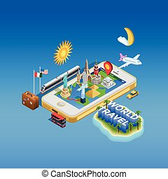 Travel And Landmarks Concept Poster - Isometric poster of...