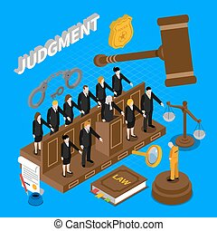 Judgment People Illustration - Color isometric composition...
