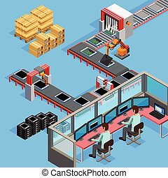 Conveyor Manufacturing Line Operators Isometric Poster -...