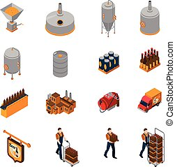 Brewery Isometric Icons Set - Brewery isometric icons set...