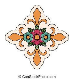 Isolated cross shape design - Cross shape with flowers...