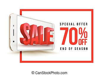 Sale banner with smartphone.