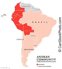 Andean Community countries map, a trade bloc. Comunidad...