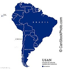 Union of South American Nations map - USAN, Union of South...