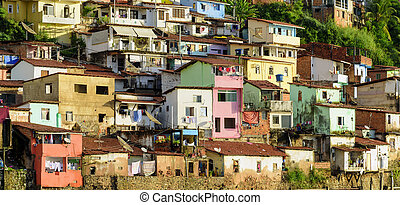 Slum - Contour shantytown with its colorful houses on the...