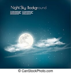 Night nature sky background with cloud and moon. Vector.