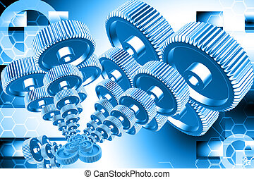 gear - Digital illustration of gear in abstract background...