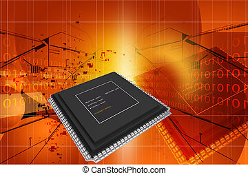 semiconductor - 3d rendering of semiconductor in digital...